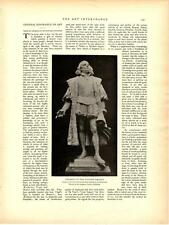 "1898 Columbus Statue—Paul Wayland Bartlett Antique Vtg Lithograph Print 14x11"""