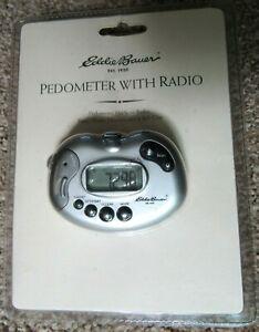 Eddie Bauer PEDOMETER W/FM Radio, Panic Alarm, Headphones, Belt Clip NIP