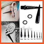 2 BLACK Acrylic Taper Spike Ear Stretcher Expander Plug Flesh Body Piercing Punk