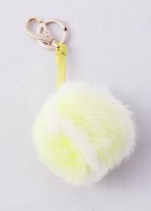 RRP €205 ANYA HINDMARCH Unisex Mink Fur & Leather Keychain Tennis Ball Bag Charm