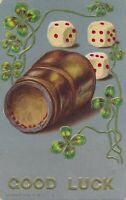 Dice, Cup and Shamrocks Good Luck Postcard - 1911