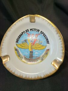 "Ashtray INDIANAPOLIS MOTOR SPEEDWAY ""500"" Glazed Ceramic 8"" Vintage Indy 500"