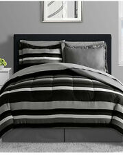 Black, Gray & White Teen Boys Reversible Stripe Full Comforter Set 8Pc Bed N Bag