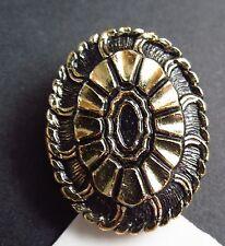 Western Germany gold tone gilt black enamel flower scarf / dress CLIP