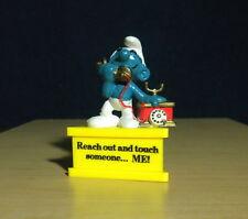 Smurf A Gram Telephone Reach Out & Touch Someone Vintage Figurine Stand Peyo Toy