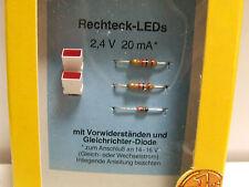 1/87ème  2 RECHTECK - LEDS ROUGE  2,4 volt 20mA  -  BUSCH référence 5991