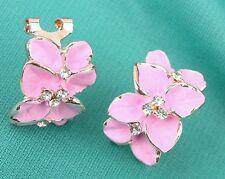 #1078 Chic Women Gardenia Flower Crystal Ear Studs Rhinestone Earrings