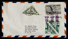 Dr Who 1940 Liberia Monrovia Airmail To Usa Triangle Pair f81177