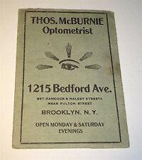 Rare Antique Optometrist / Camera Kodak Supply Advertising! Brooklyn, NY Booklet