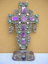 RARE VINTAGE LARGE MEXICAN STERLING SILVER JEWELED AMETHYST CROSS SCULPTURE