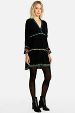 Johnny Was Women's Tunic Dress XS Black Ridden Tierred Mix Embroidered Boho Top
