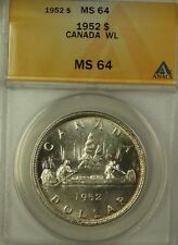 1952 Canada Silver $1 Coin WL King George VI ANACS MS-64