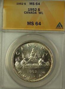1952 Canada Silver $1 Coin WL King George VI ANACS MS-64