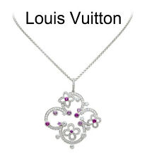Louis Vuitton Diamond and Sapphire 18K White Gold Necklace