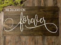 """WE DECIDED ON FOREVER Carved Text Distressed Pallet Wood Sign 12/"""" x 15.5/"""""""