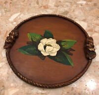 "MARIGOLD LOS ANGELES CALIFORNIA PAINTED 14"" WOOD SERVING TRAY Magnolia Rope Trim"