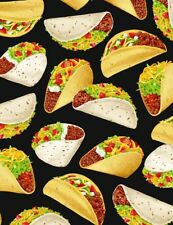 Mexican Fabric - Taco Toss on Black - Timeless Treasures YARD