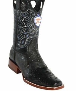Men's Wild West Genuine Python Leather Square Toe Boots With Saddle Handcrafted