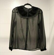 The Kooples Women's L Black Sheer Blouse with Velvet Detail