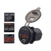 DC 12V / 24V Waterproof Car Power Socket USB Charger Socket with Switch LED