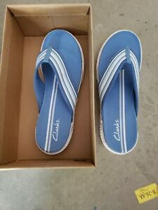Clarks Cloudsteppers Women's Size 10 Goldie Blue Slide Sandals Fabric 70364