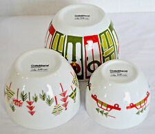 3 Crate & Barrel Yule Town Christmas Mixing Serving Bowls Dishes Julia Rothman