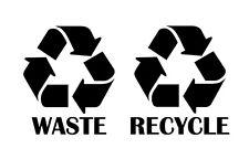 Recyle symbol waste recycle name sticker vinyl decal garbage blue bin set of 2