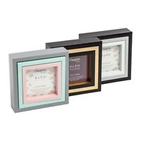 Triple Set Photo Picture Frames 6x6 5x5 4x4 Black Grey Green Pink Gold Display