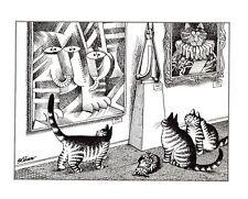 Cats Art Museum Appreciating Art Kliban Cat Print Black White Vintage
