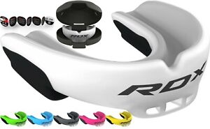 RDX Gel Gum Shield & Case Mouth Guard Boxing MMA Junior Adult Rugby Box White