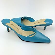 Newport News Mules Size 9 Blue Slip On Pump Pointy Toe Shoes Style #10749