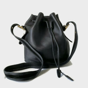 Vintage COACH LULA'S LEGACY Black Leather Drawstring Cross-Body Bag Purse 9952