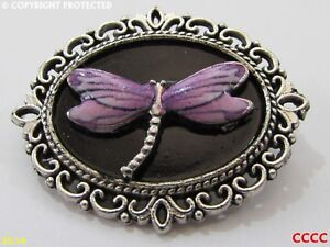 steampunk brooch badge pin dragonfly enamel silver lilac pink #D0095-K