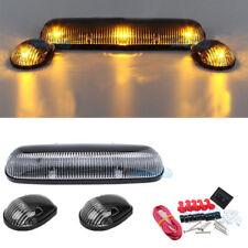 3Pcs Smoke Cab Top Marker Lamps Amber LED For 02-07 Chevy Silverado/GMC Sierra