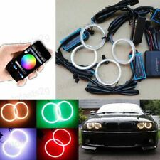4x 70MM RGB COB LED Angel Eyes Lights Halo Rings Headlight DRL Phone Control Kit