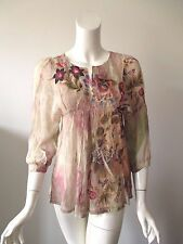 Mushka Sienna Rose Multi Color Floral Paisley Prints Lace Trims Sheer Top PXS
