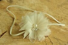 Tulle Flower Newborn Baby Girl Headband Rhinestone Pearl Christening Wedding