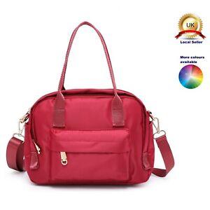 Elegant Silky Nylon S-Medium Tote Shoulder Handbag Woman Lady Multi pockets Bag