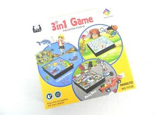 3 IN 1 SOLID PASTIC BOARD SNAKES AND LADDER RACING GAME  AND FINDING TREASURE