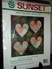 Sunset Antiqued Quilts Calico Christmas Hearts Kit
