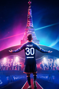 Lionel Messi Paris Saint Germain Eiffel Tower Poster 12X18 Inches