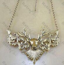 Grande ORNATA Stag HEAD collana stile vintage deer antler Antico Oro Pl Tuta