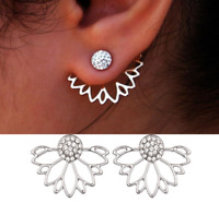 Womens Earrings Sterling Silver Plated Round Stud Studs Crystal Gem CZ Xmas Gift