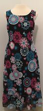 Sangria Women's Size 10 Dress Sleeveless Blue Pink Sheer Overlay Ruffle Hem