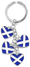 Scottish Saltire Hearts Four Brand New Souvenirs Gifts UK Scotland Keyring