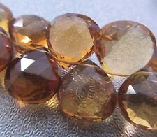 Golden Brown Beer Quartz Faceted Briolette Beads 4pcs