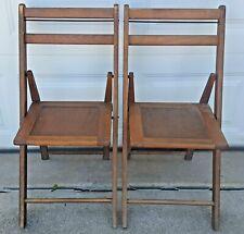 2 Antique Wooden Folding Chairs Wood Slat Seats Huron Township Michigan