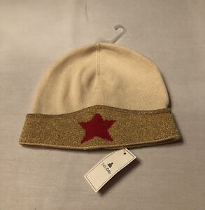 NWT GAP Baby Girls GOLD Star WONDERWOMAN Junk Food Knitted Beanie Hat 12-18m