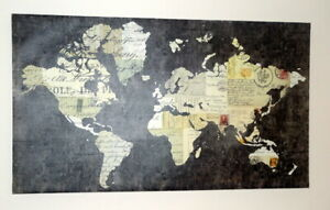 """Framed Unique Old World Map - Canvas Painting Print Wall Art Decor 42"""" x 22"""""""