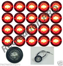"20 NEW 3/4"" CLEAR/RED LED CLEARANCE MARKER BULLET LIGHTS W/BLACK TRIM RING"